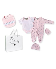 Baby Girls Smocked Bunny Footie 5 Piece Layette Gift Set