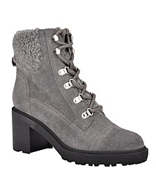 Women's Lakynn Lace Up Lug Sole Heeled Combat Booties
