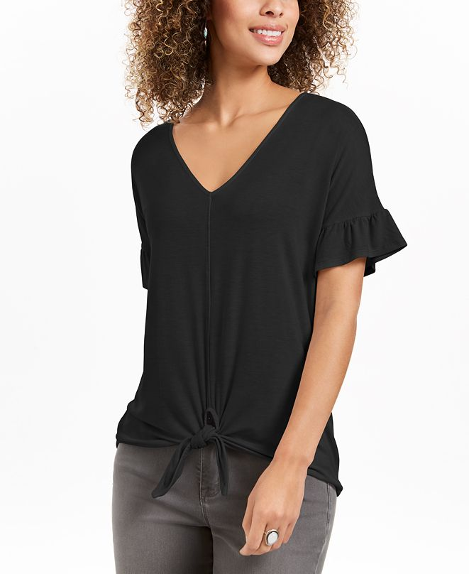 Style & Co Flutter-Sleeve Tie-Front Top, Created for Macy's