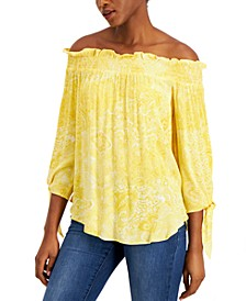 Paisley-Print Off-The-Shoulder Top