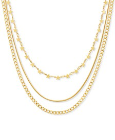 """Gold-Tone Star, Snake & Curb Chain Layered Necklace, 16"""" + 3"""" extender"""