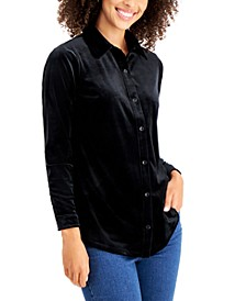 Petite Velour Collared Button-Down Shirt, Created for Macy's