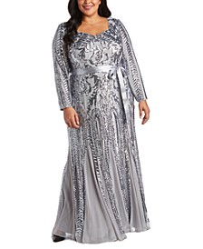 Plus Size Godet Sequin Gown
