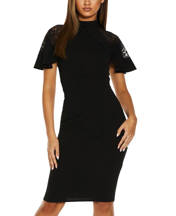 QUIZ - Lace-Sleeve Bodycon Dress