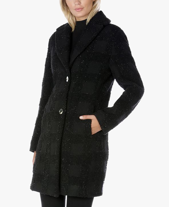 Tahari Lurex Plaid Walker Coat, Created for Macy's