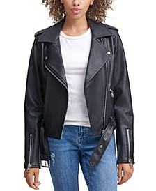Belted Faux-Leather Moto Jacket
