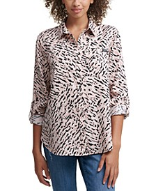 Tiger Print Button Front Top