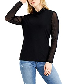 INC Mesh Turtleneck Top, Created for Macy's