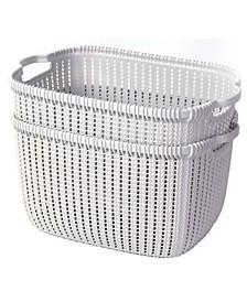 Vintiquewise Plastic Wicker Large Basket, Set of 2