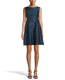 Pleat-Front Jacquard Dress