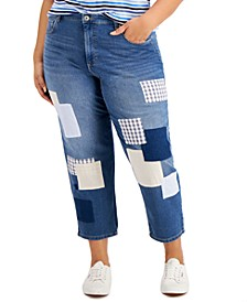 Plus Size Patchwork Jeans, Created for Macy's