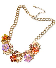"""INC Gold-Tone Crystal & Bead Multicolor Flower Statement Necklace, 18"""" + 3"""" extender, Created for Macy's"""