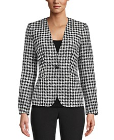 Houndstooth Single-Button Jacket, Created for Macy's