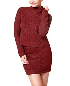 Cable-Knit Mini Sweater Skirt