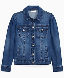 Petite Puff-Sleeve Denim Jacket, Created for Macy's