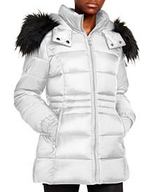 Juniors' Faux-Fur Trim Hooded Shine Puffer Coat