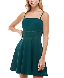 Juniors' Open-Trim Fit & Flare Dress