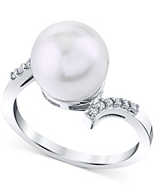 Cultured Freshwater Pearl (10mm) & Diamond (1/10 ct. t.w.) Ring in 14k White Gold