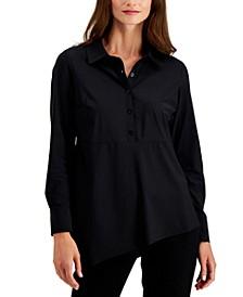 Asymmetrical-Hem Button Shirt, Created for Macy's