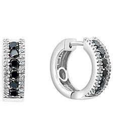 EFFY® Black & White Diamond Hoop Earrings (7/8 ct. t.w.) in 14k White Gold
