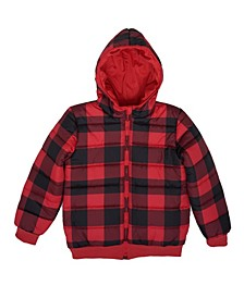 Big Boys Checkered Full Zip Reversible Hooded Puffer Jacket