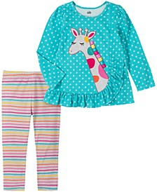 2 Piece Toddler Girls Giraffe Tunic with Stripe Legging Set