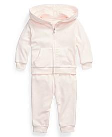 Ralph Lauren Baby Girls Velour Hoodie & Pant Set