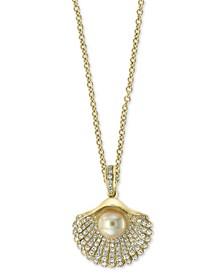 "EFFY® Cultured Freshwater Pearl (6mm) & Diamond (3/8 ct. t.w.) Shell 18"" Pendant Necklace in 14k Gold"