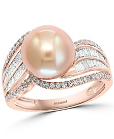 EFFY® Pink Cultured Freshwater Pearl (10mm) & Diamond (1/2 ct. t.w) Ring in 14k Rose Gold