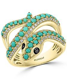 EFFY® Turquoise & Diamond (3/8 ct. t.w.) Snake Ring in 14k Gold