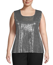 Plus Size Sequin Tank Top