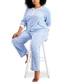 Plus Size Thermal Fleece Printed Pajama Set, Created for Macy's