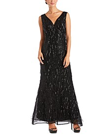 Sequin-Fringe Gown