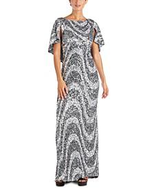 Swirl Sequin Gown