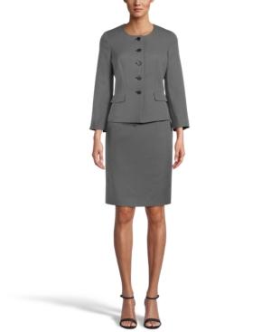 Collarless Skirt Suit
