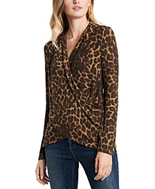 Luxe Animal-Print Cross-Front Top