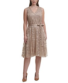 Plus Size Embroidered Mesh Fit & Flare Dress