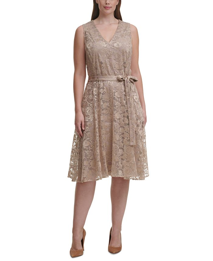 Tommy Hilfiger - Plus Size Embroidered Mesh Fit & Flare Dress
