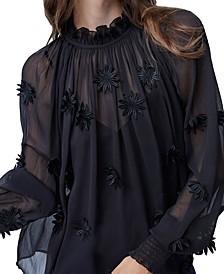 Aziza Sheer Floral-Embellished Top