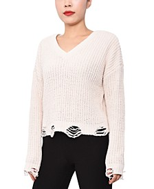 Juniors' Chenille Destructed Lace-Up Sweater