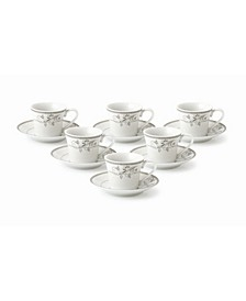 Floral Design 12 Piece 2oz Espresso Cup and Saucer Set, Service for 6