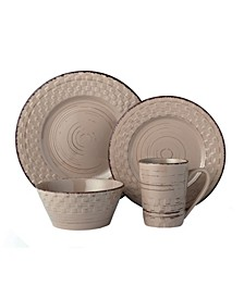 16 Piece Distressed Weave Dinnerware Set, Service for 4