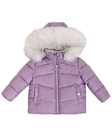 Baby Girls Heavy Weight Puffer Jacket with Faux Fur Hood Trim