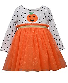 Toddler Girls Dot Knit Top Pumpkin Face Dress