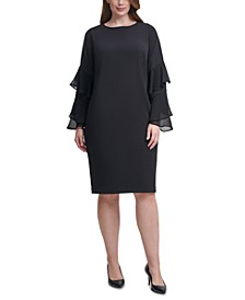 Plus Size Crepe Chiffon-Sleeve Sheath Dress