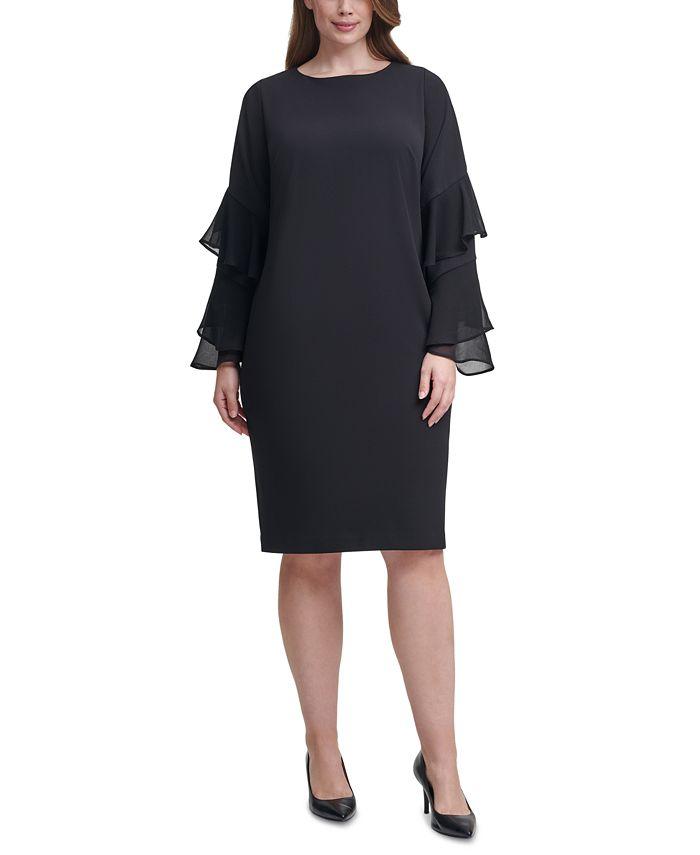 Calvin Klein - Plus Size Crepe Chiffon-Sleeve Sheath Dress