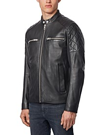 BOSS Men's Jeean Slim-Fit Biker Jacket