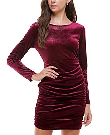 Juniors' Velvet Glitter Bodycon Dress