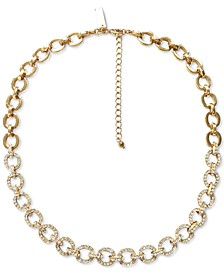 "INC Gold-Tone Crystal Chain Link Collar Necklace, 17-1/4"" + 3"" extender, Created for Macy's"