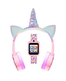 Kid's Playzoom Pink Unicorn Tpu Strap Smart Watch with Headphones Set 41mm